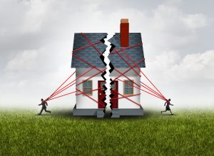 Broken family home 3D illustration
