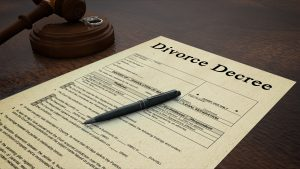 Side low shot of a divorce decree paper with a pen, gavel and rings